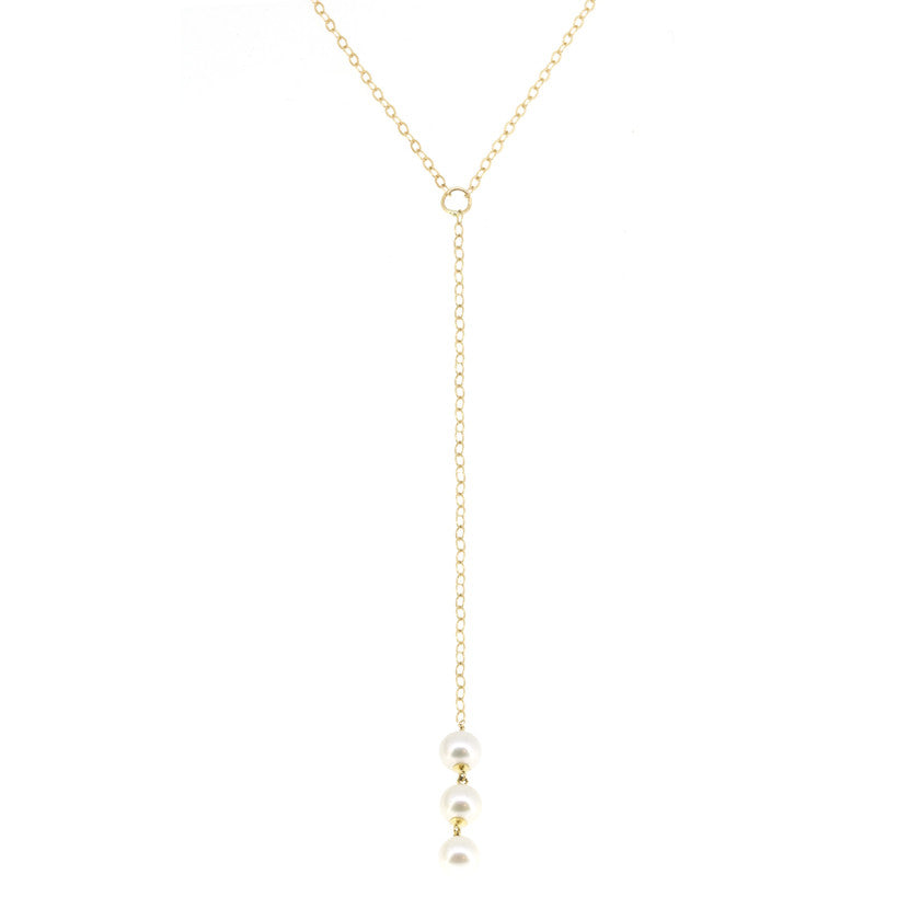 Triple Pearl Lariat Necklace