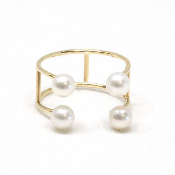 Double Baby Pearl Open Ring