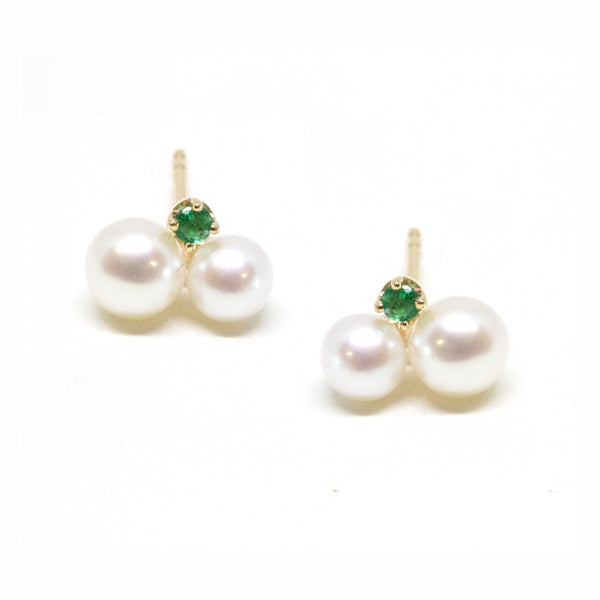 Double Pearl Emerald Stud Earrings