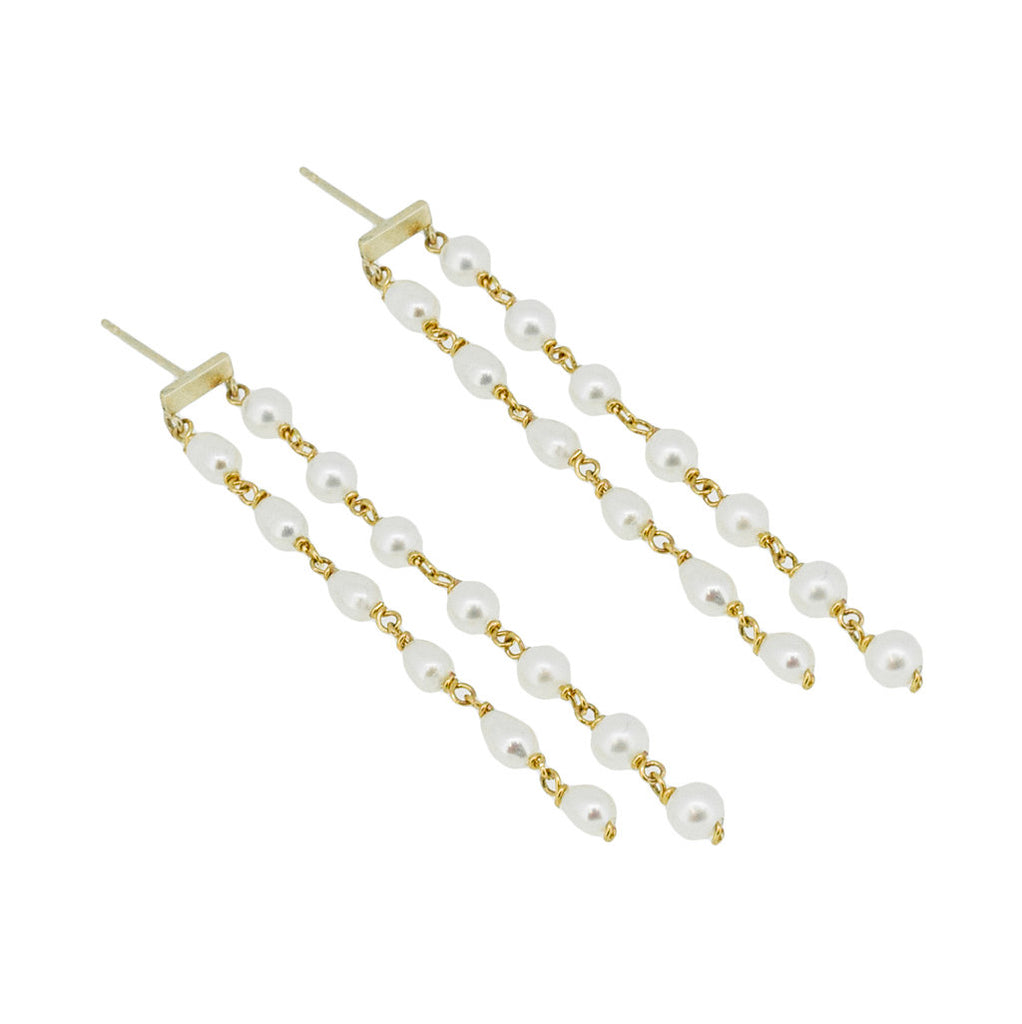 Duo Pearl Drop Earrings