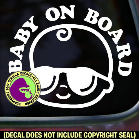 BABY ON BOARD SUNGLASSES Sign Vinyl Decal Sticker