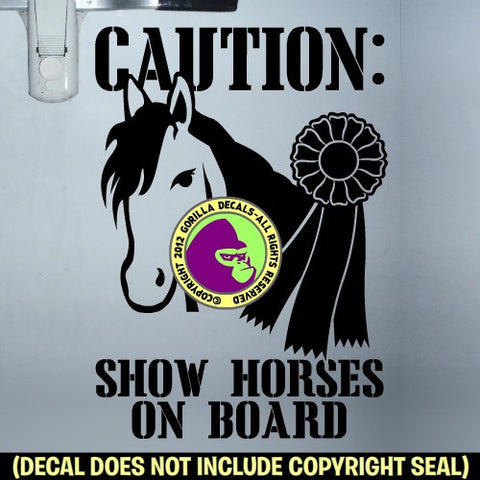 1st PLACE RIBBON SHOW HORSES ON BOARD Caution Trailer Vinyl Decal Sticker