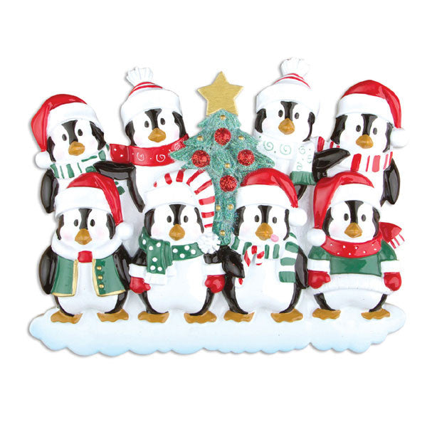 OR629-8 - Winter Penguin Family 8 Personalized Christmas Ornament