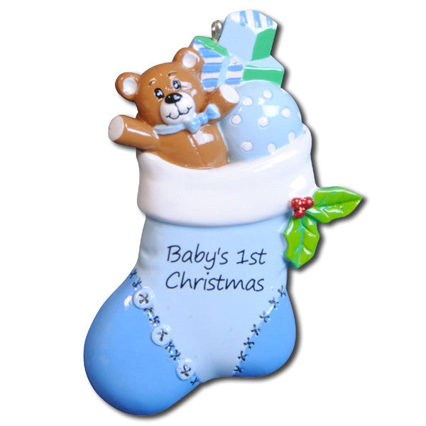 OR796-B - Blue Baby Stocking Personalized Christmas Ornament