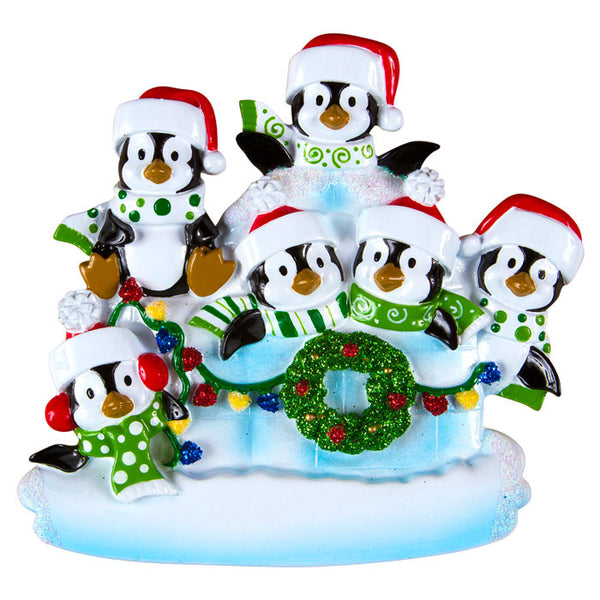 OR969-6 - Penguin Igloo of 6 Personalized Christmas Ornaments
