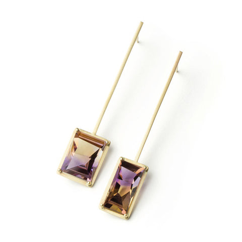 Golden Suspended Frame Ametrine Earrings by Melanie Katsalidis