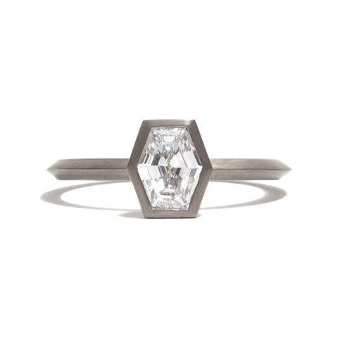 White Gold Long Hexagonal Diamond Ring by Melanie Katsalidis