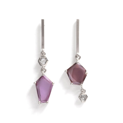 Medium Sapphire Slice and Rose Cut Diamond Earrings by Melanie Katsalidis