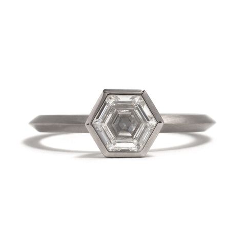White Gold Hexagonal Diamond Ring by Melanie Katsalidis