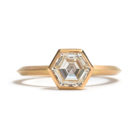 Yellow Gold Hexagonal Diamond Ring by Melanie Katsalidis
