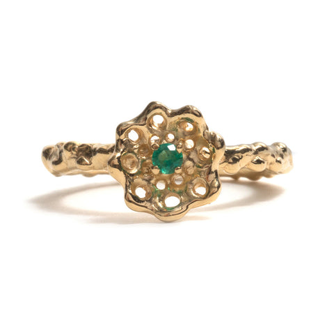 Yellow Gold and Emerald Cusp Ring by Luke Maninov Hammond