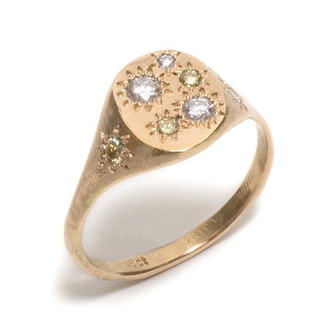 White and Yellow Diamond Neapolitan Signet Ring