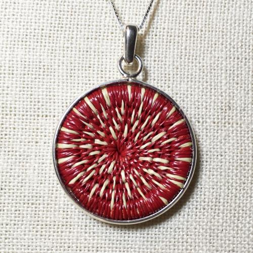 Red & White Star Burst Woven Pendant - 16in Silver Chain Necklace - Unique Handmade Gift