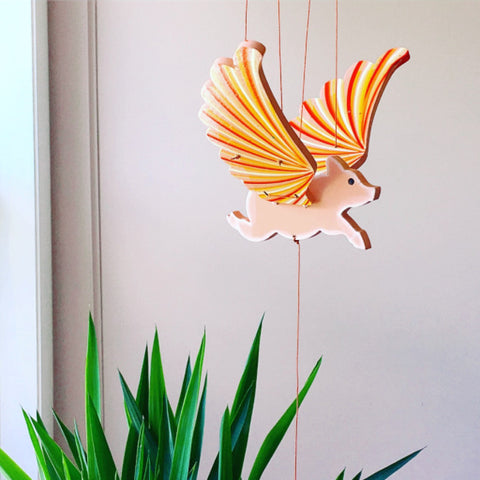 Flying Pig Mobile - Unique Handmade Gift