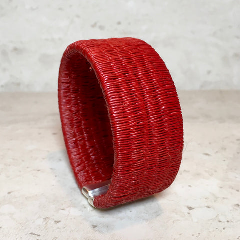 Woven Cuff Bracelet - Solid Red - Unique Handmade Gift