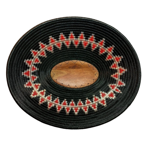 #37-Wounaan Folk Art Plate Basket Oval WP058 - Black, Red, Silver - Unique Handmade Gift