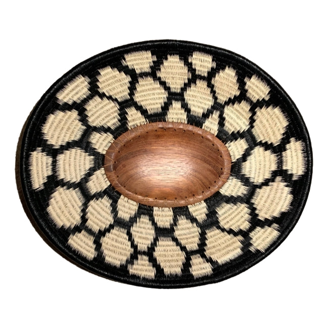 #20-Wounaan Folk Art Plate Basket WP063 - Oval Wood Blk & White - Unique Handmade Gift