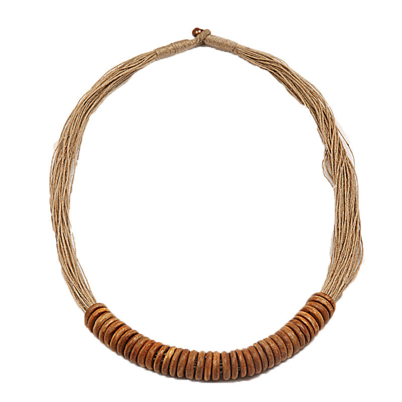 Fabulloso Jute and Wooden Rings Necklace