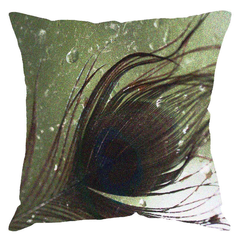 Leaf Designs Peacock Feather Digital Cushion Cover