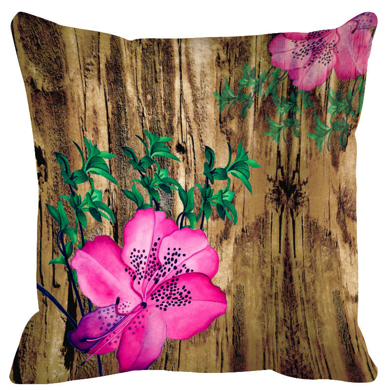 Leaf Designs Natural & Pink Cushion Cover