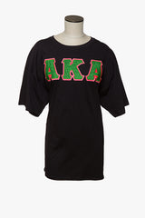 AKA Black Glitter flake Applique shirt