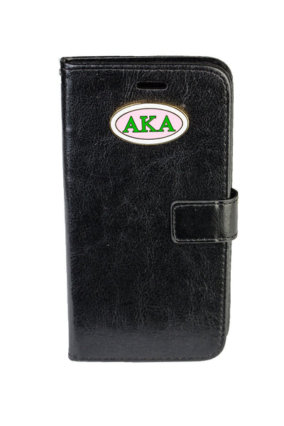 AKA Black IPhone 6 and 6Plus Leather Phone Case (Wallet Style)