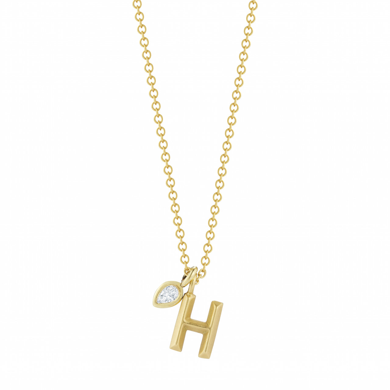 Simple Letter Necklace with Diamond Accent