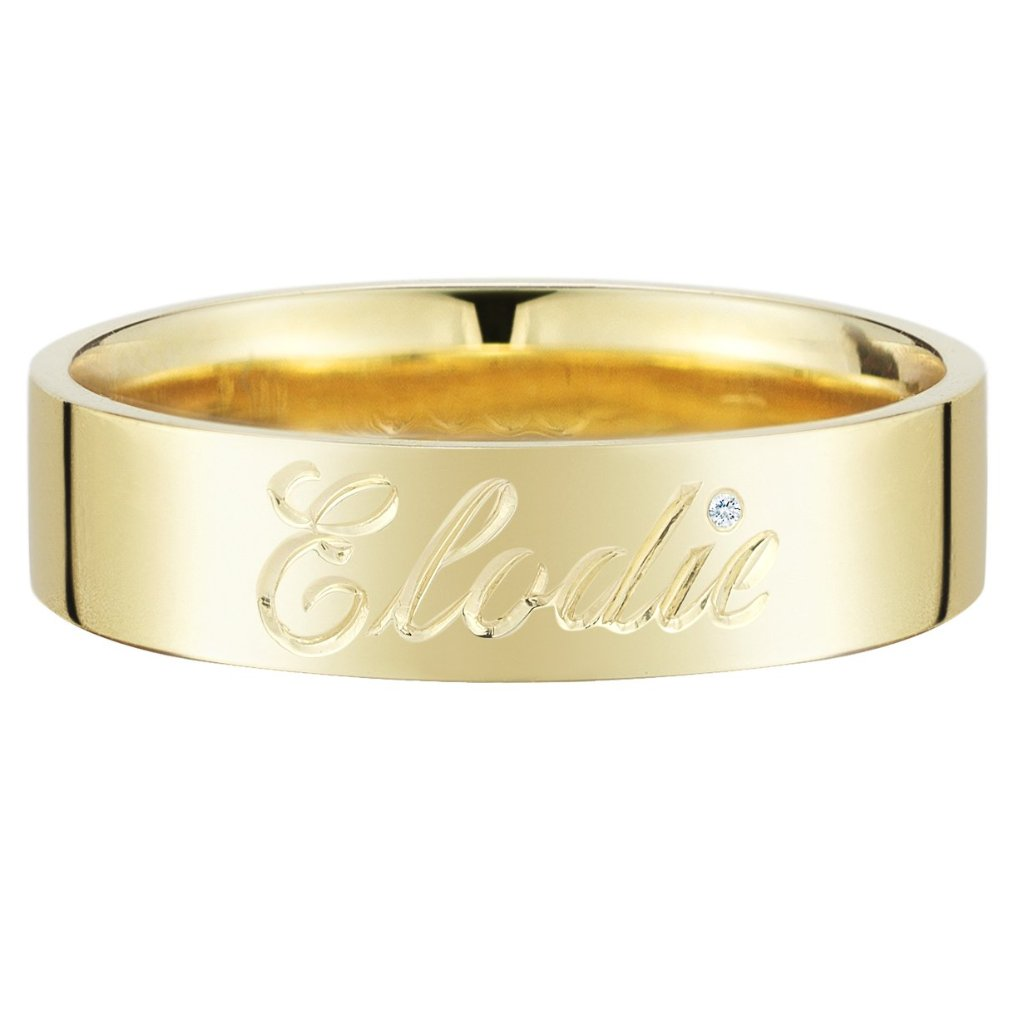 Gold Medium Comfort Fit Band with Engraved Name - Finn by Candice Pool Neistat