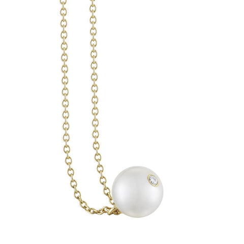 Petite pearl pendant necklace on 18k gold chain by finn by candice pool neistat