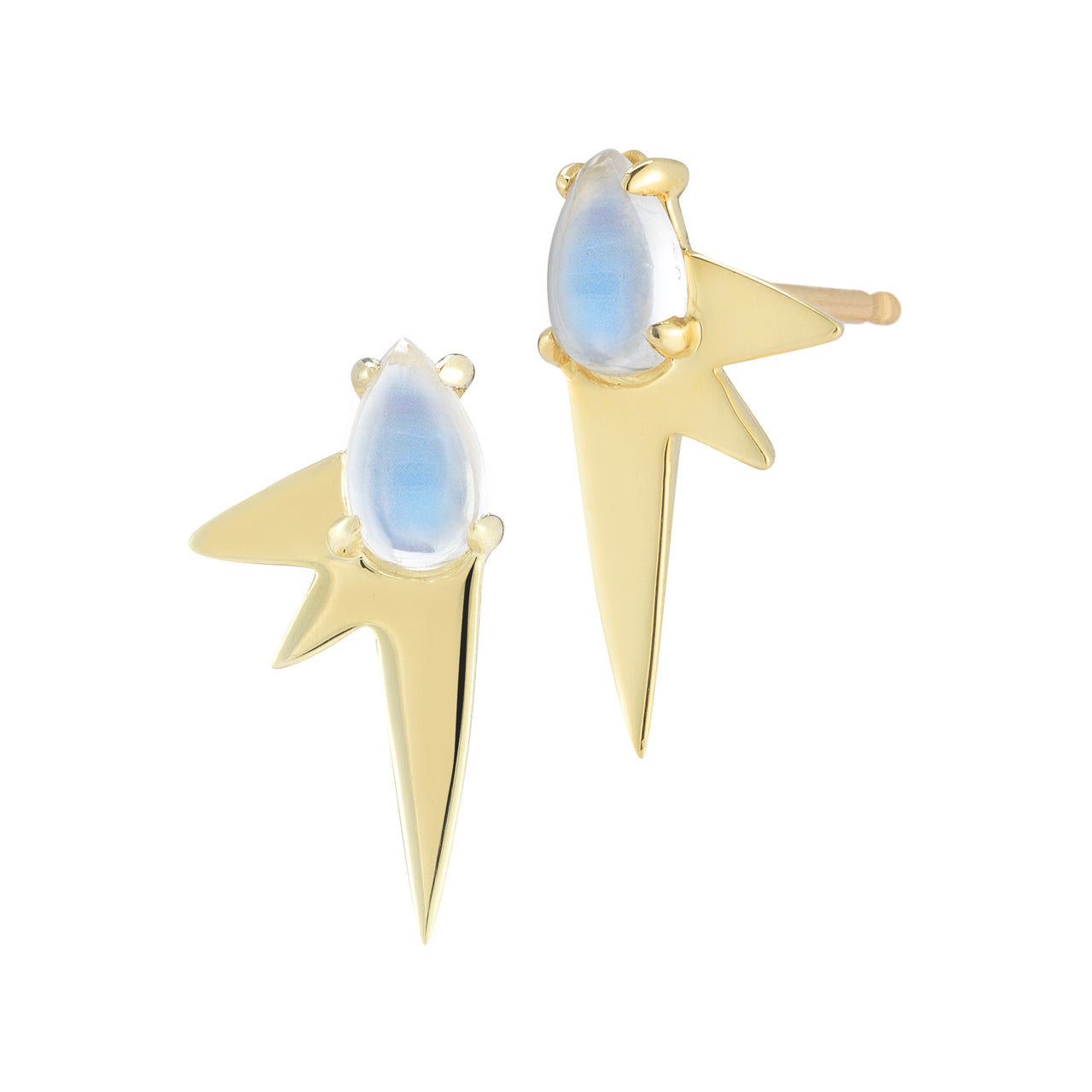 modern spike stud earrings with moonstone in 18k yellow gold by finn by candice pool neistat
