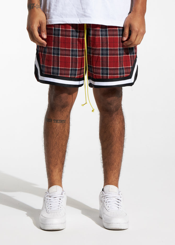 Tartan Basketball Shorts (Red Plaid)