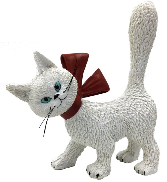 Cat La Minette White So Cute with Red Bow and Tail Up Figurine by Dubout