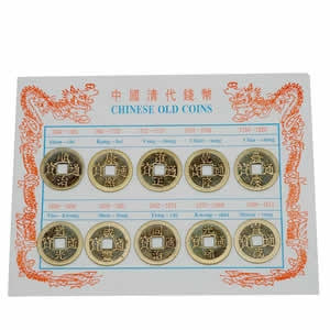 Museumize:Ancient Chinese Round Coin Square Hole Replica Set 10 pieces