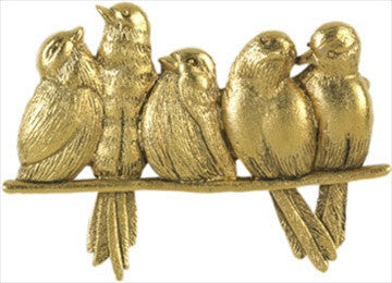 Museumize:Birds Five Sitting on Perch Brooch Pin by Giacomelli