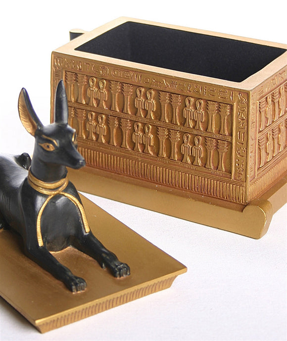 Museumize:Anubis Jackal Dog Egyptian Treasure Box from Tut Tomb 6.5H