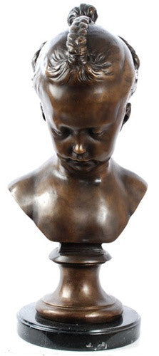 Museumize:French Girl Bust, Lost Wax Bronze - 7895