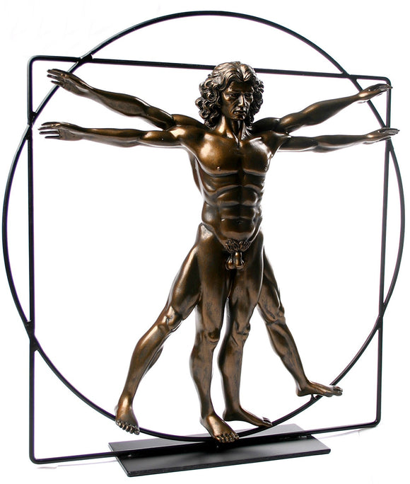 Museumize:Vitruvian Universal Man Ideal Man Proportions Statue by DaVinci Bronze, Assorted Sizes
