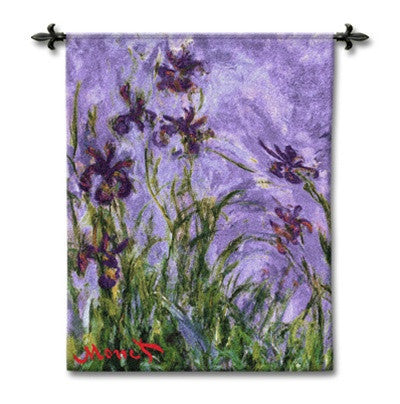 Museumize:Monet Irises Woven Wall Tapestry 44L
