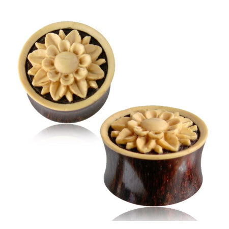 Flower Inlay Tamarind Wood Plugs