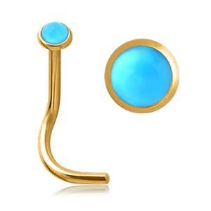 Gold Plated Turquoise Nostril Screw