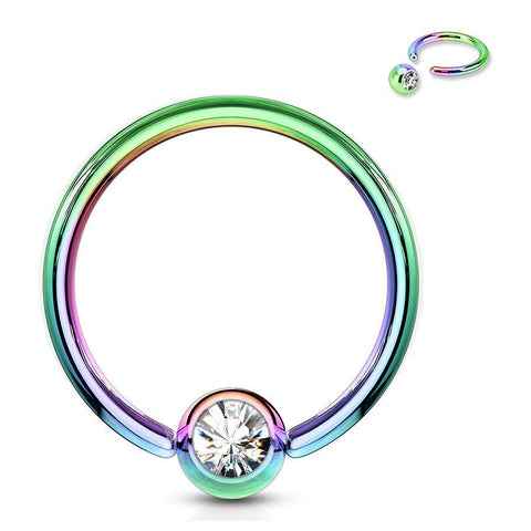 Anodized CZ Captive Bead Ring