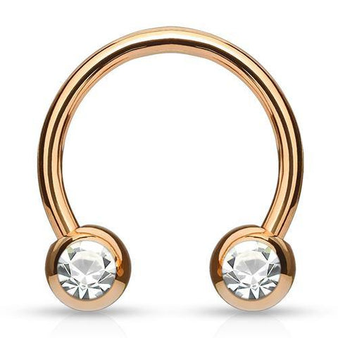 Rose Gold Plated Side-set CZ Circular Barbell