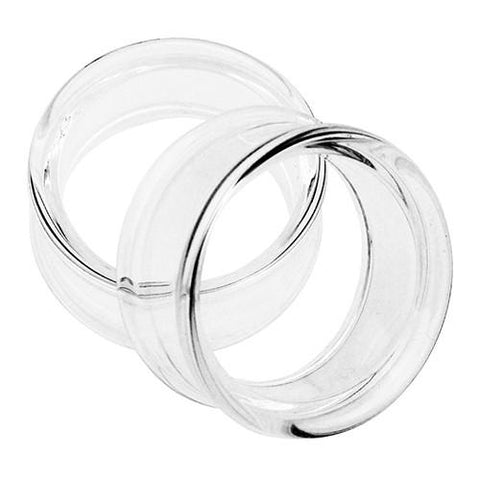 Plugs - Double Flare Clear Tunnels By Glasswear Studios