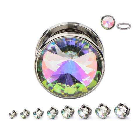 Screw-On Stainless Opalescent CZ Plugs