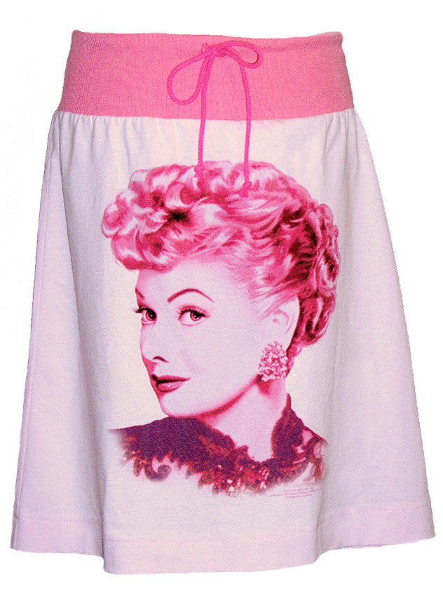 I Love Lucy Lucille Ball Portrait Pink T-Shirt Drawstring Skirt - IDILVICE Clothing