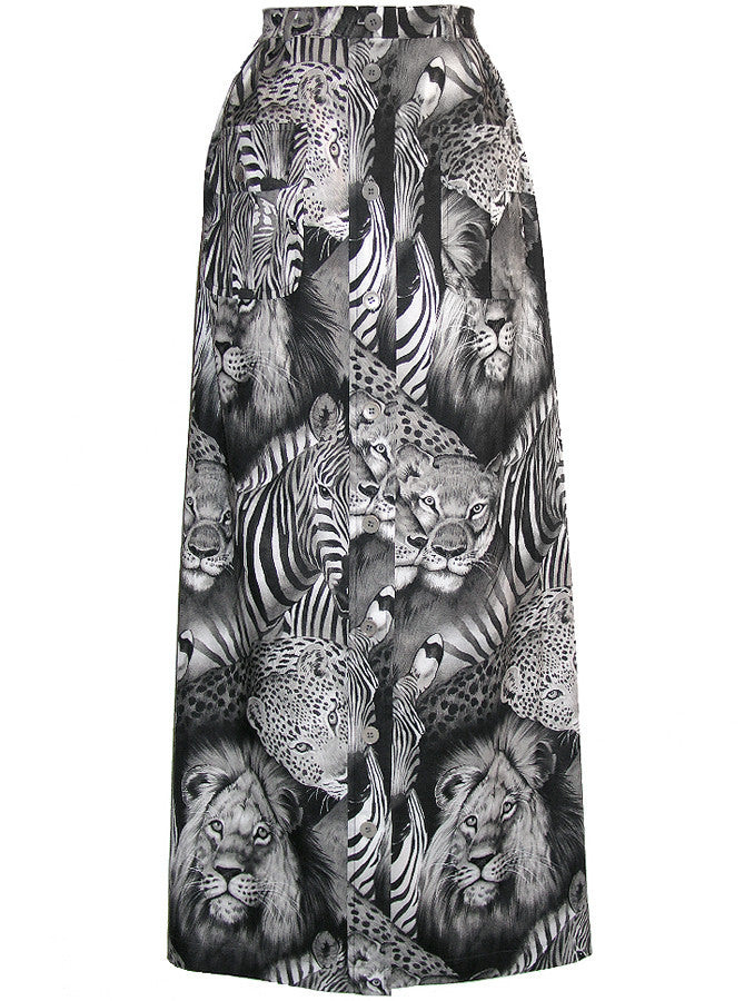 Safari Exotic Animals Printed Maxi Skirt - IDILVICE Clothing - 1