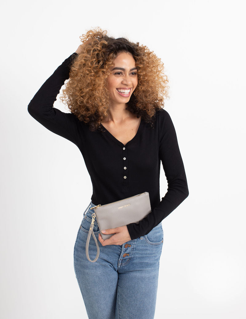 Fawn Design Charging Clutch in Gray | Vegan Leather Charging Clutch