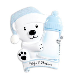 BABY'S FIRST-BABY BEAR HOLDING BOTTLE-BLUE