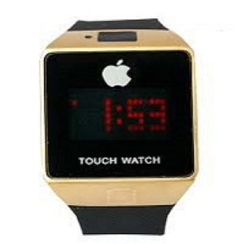 Apple Inspired Rubber Touch Watch - Black/Gold