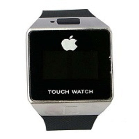 Apple Inspired Rubber Touch Watch - Black/Silver